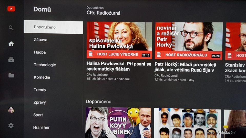 YouTube aplikace v chytrém televizoru
