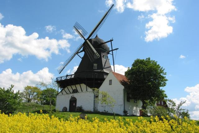 Kronetorpský větrný mlýn na jaře