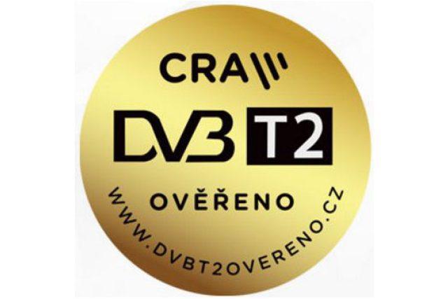 """Certfikační známka """"DVB-T2 ověřeno"""" Českých Radiokomunikací"""