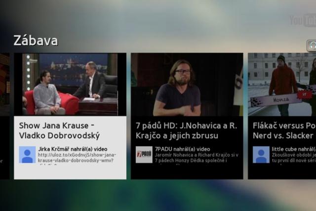 YouTube rozhraní v chytrém televizoru