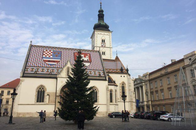 Kostel svatého Marka v historickém centru Záhřebu