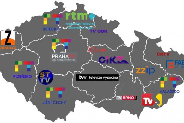 Mapa partnerů Regionálnítelevize.cz k březnu 2018