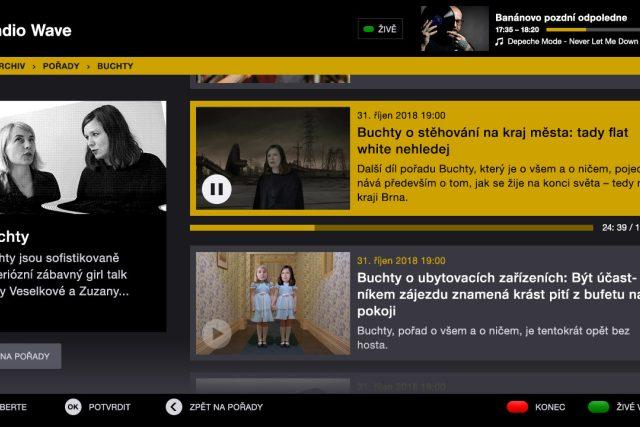 Možnost přehrávání starších dílů pořadů z audioarchivu v HbbTV