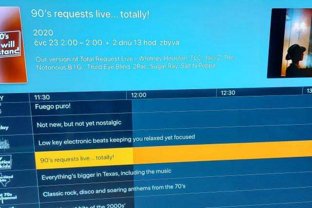 Programový průvodce streamingové platformy Plex TV