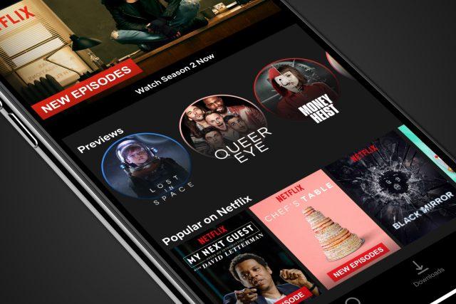 Netflix v mobilním telefonu se systémem iOS