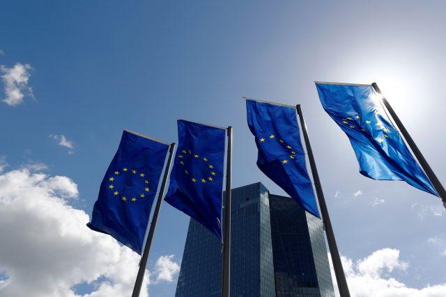 Vlajky Evropské unie ve Frankfurtu